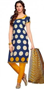 Sizzling Blue And Yellow Crepe Printed Straight Salwar Suit With Dupatta.