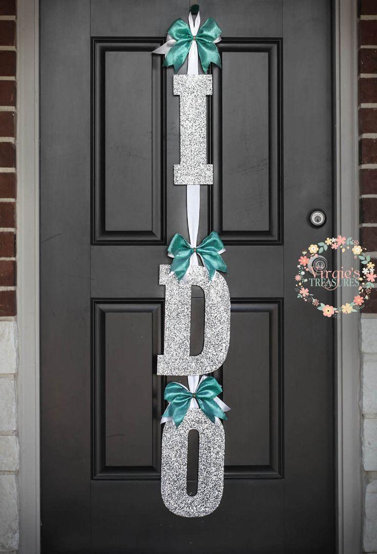 I DO Door Sign, Tiffany's Theme Inspired I DO Door Hanger, Wedding Shower Door Decoration, Silver Glittery Wooden Letters, Bridal Shower by VirgiesTreasures on Etsy