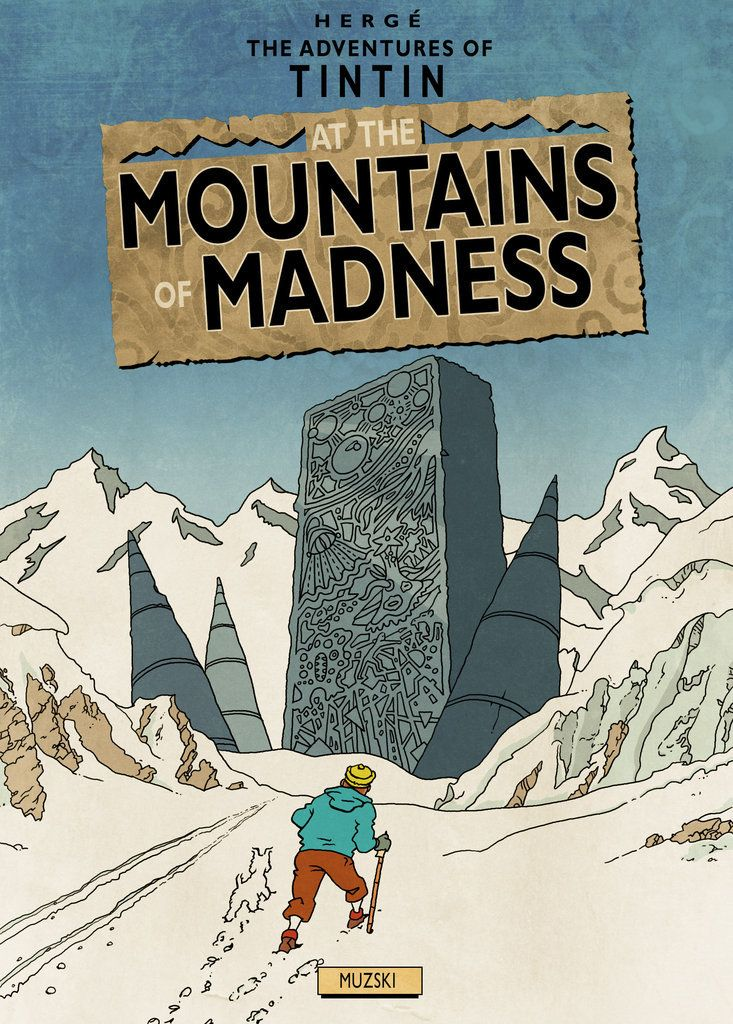 A graphic designer that goes by the name of Muzski has created an incredibly fun series of art that takes Hergé's classic comic character Tintin and throws him into the terrifyingly awesome universe of H.P. Lovecraft