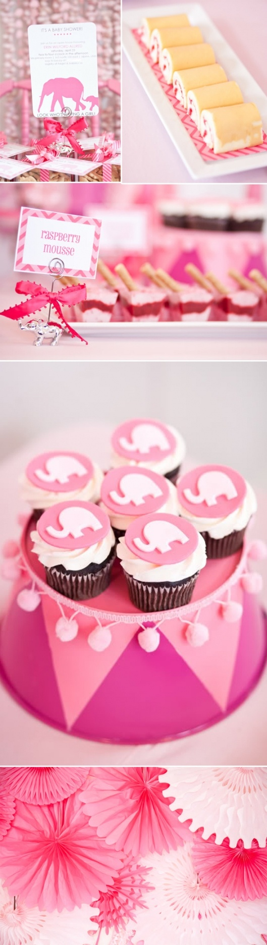 Pink elephant baby shower...'cept i'd do it in purple/silver for a bridal shower :p