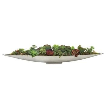 Faux Red Green Succulent Plants in Mercury Metal Canoe Bowl. #kathykuohome