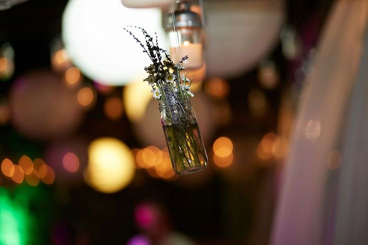 Hanging crystal vases with lavender branches and chamomile make up the most boho romantic scene for your dream wedding :)