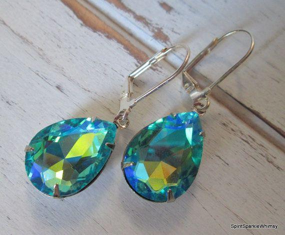 Iridescent Blue Green Rhinestone Earring by SpiritSparkleWhimsy