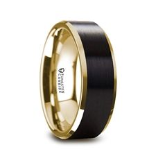 GASTON Gold Plated Tungsten Polished Beveled Ring with Brushed Black Center - 8mm #tungstenring #goldplated #blackring