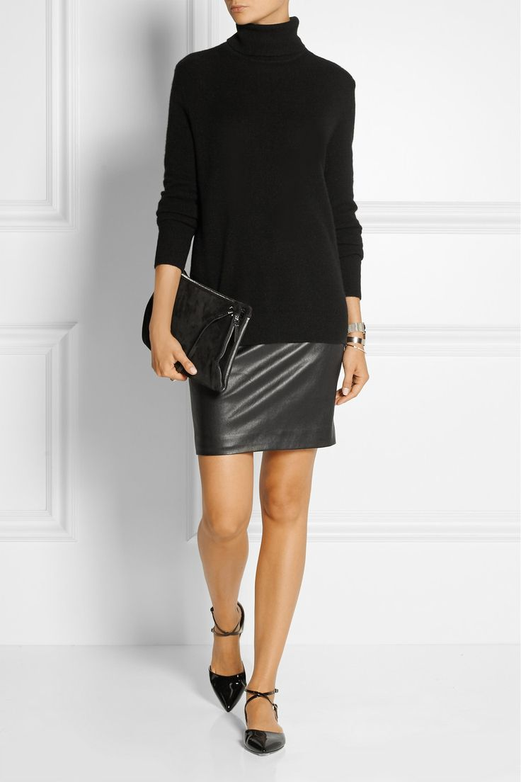 the row loattan stretch leather mini skirt net a