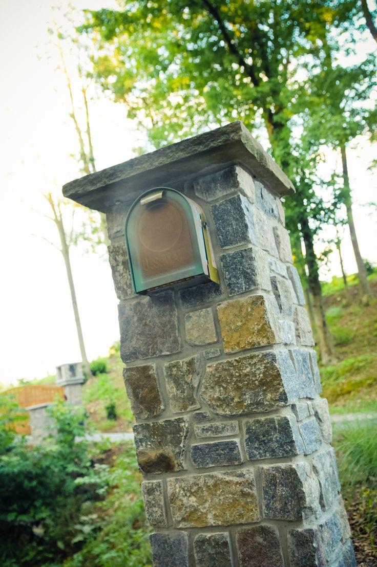 Hand Crafted Mailbox Made with Real Veneer Stone. love the stone on this. I would want a solar light somehow built in.