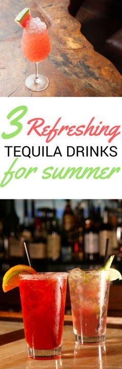 3 refreshing tequila drinks for summer: Blood Orange Margarita, The Mountain Leaf, Watermelon Crush.