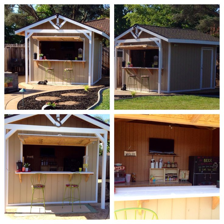 This is our custom made Party Bar Shed!  It's 10x12 with two doors.  Door on left (not seen in photo) leads into the bar area.  We have a kegerator, popcorn machine and TV and lots of counter space.  Includes a ceiling fan and lights as well.  The back part with the door on the right has a place for hubby's tools, lawn mower and shelving for misc items.  We love it!!