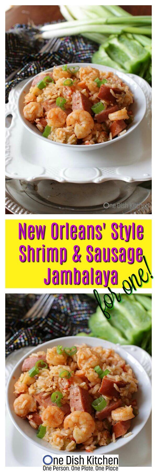 """Authentic Louisiana-style Shrimp and Sausage Jambalaya For One. A flavorful single serving recipe that can be ready in 30 minutes! Made with the """"trinity"""" of vegetables, this traditional New Orleans jambalaya recipe will surely become a favorite! 