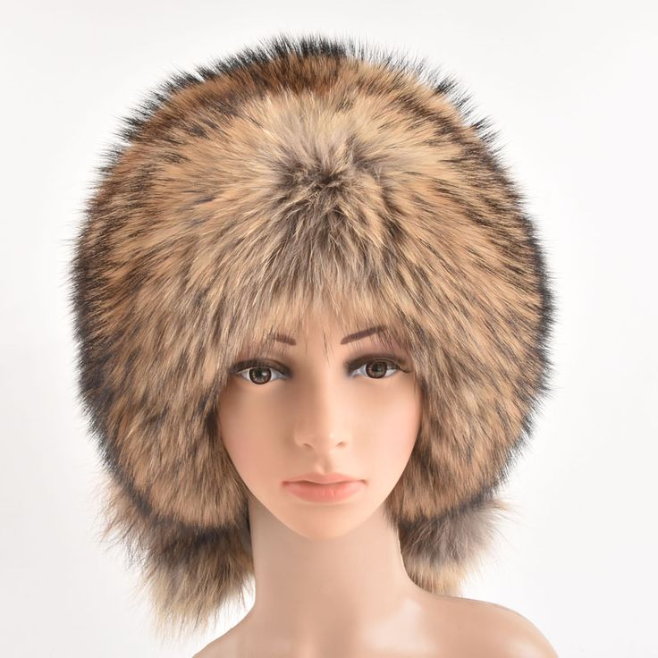 Winter Women Fur Bomber Hats Real Raccoon Fur Brown/Wine Trapper Hats Caps Pompom Male Russian Bomber Hat Genuine Fur #Affiliate