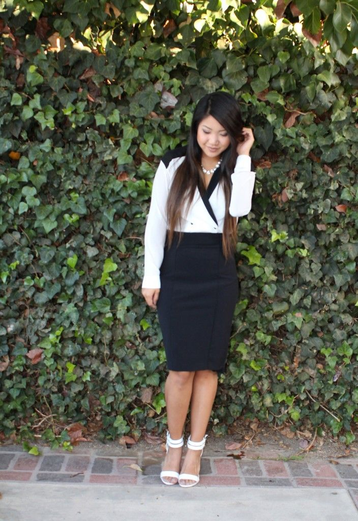 Tuxedo Blouse for today's modest church outfit on the blog. #sunday #church #lds #ysa #modest #whatiwore #outfitoftheday