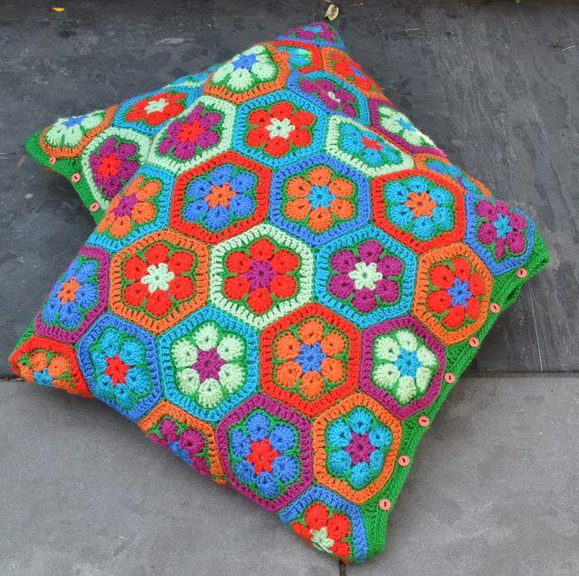 Crochet african flower pillows