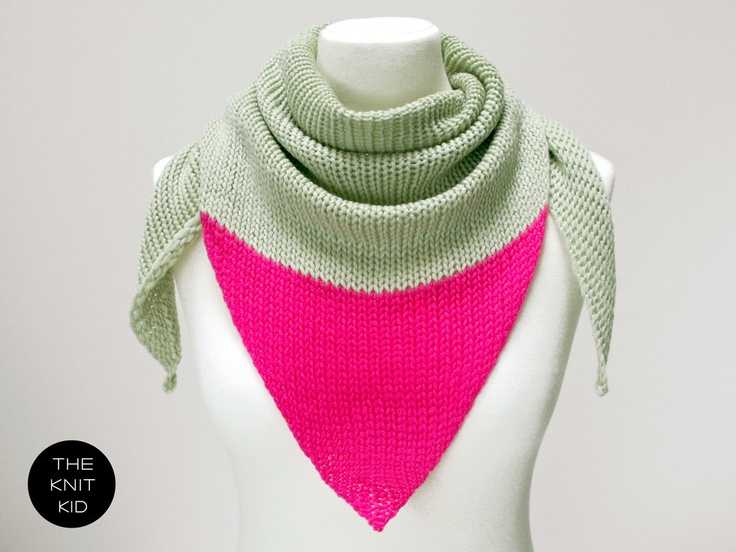 pastel green pink triangle scarf merino theknitkid. €39,90, via Etsy.