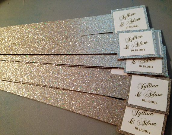This glitter does not shed!!    Glitter Belly Band for Wedding Invitations with Name Tags.    These are customizable. The come as 1.5 wide and