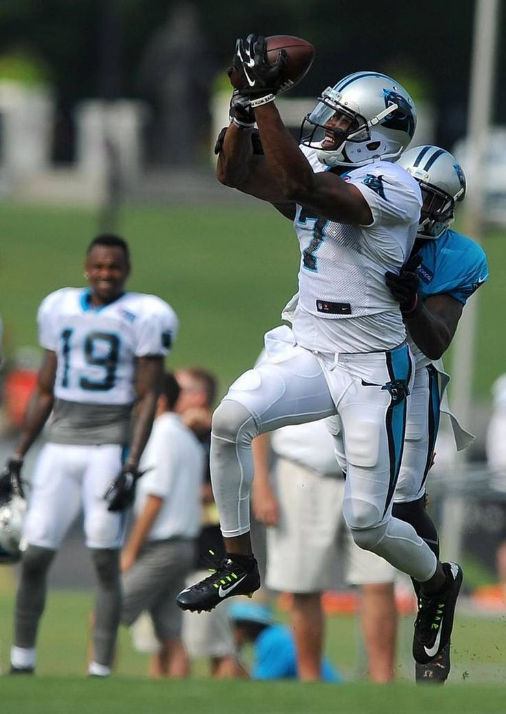 Carolina Panthers wide receiver Paul Browning, left, catches a pass as cornerback Teddy Williams, right, applies defensive pressure during practice at Wofford College in Spartanburg, SC on Thursday, August 6, 2015.