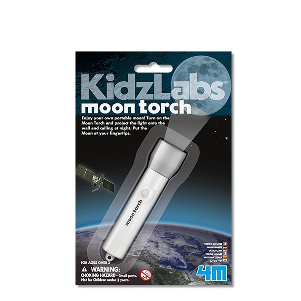 4M Moon Torch - Enjoy your own portable moon! Turn on the Moon Torch and project the light onto the wall and ceiling at night. Put the Moon at your fingertips. Simply turn on the torch and point at any wall or out into the night sky to see the grand moon!