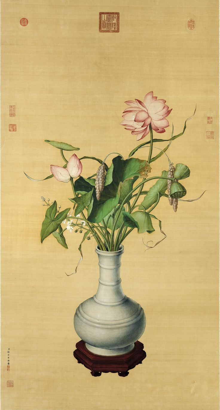 Double Lotus For The Yongzheng Emperor (1723 – 1735), Giuseppe Castiglione (Lang Shining, 1688 – 1766).