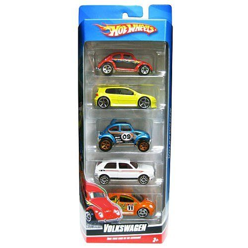 2009 Hot Wheels VOLKSWAGEN 5-Pack 1:64-scale cars (Golf GTI, Beetle, Baja Beetle, New Beetle Cup, Golf) by Mattel. $29.99. for ages 3+. Volkswagen themed set. 2009 Hot Wheels 5-Pack Cars. 1:64 scale (approximately 2-inches to 3-inches long). Includes: Golf GTI, Beetle, Baja Beetle, New Beetle Cup, and Golf. Hot Wheels 5-Pack Cars - Volkswagen: Race these cars on the Autobahn!  This car assortment contains the following vehicles: - Volkswagen Beetle (red) - Volkswagen ...