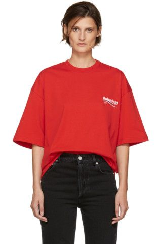 Short sleeve cotton jersey t-shirt in red. Rib knit crewneck collar. Multicolor logo printed at bust and back. Tonal stitching.