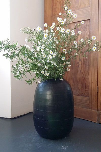 Vase Guaxs Belly Enorm black steel grey
