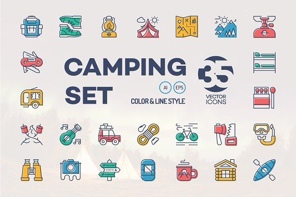 Camping icon set by mira on @creativemarket