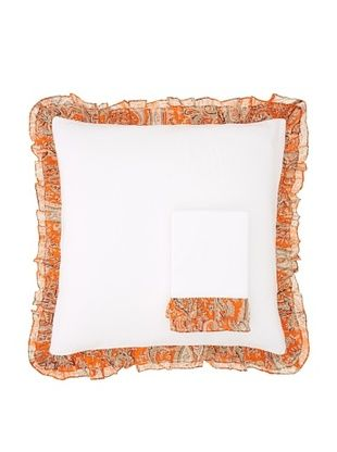India Rose Set of 2 Kathryn Euro Shams, White/Orange