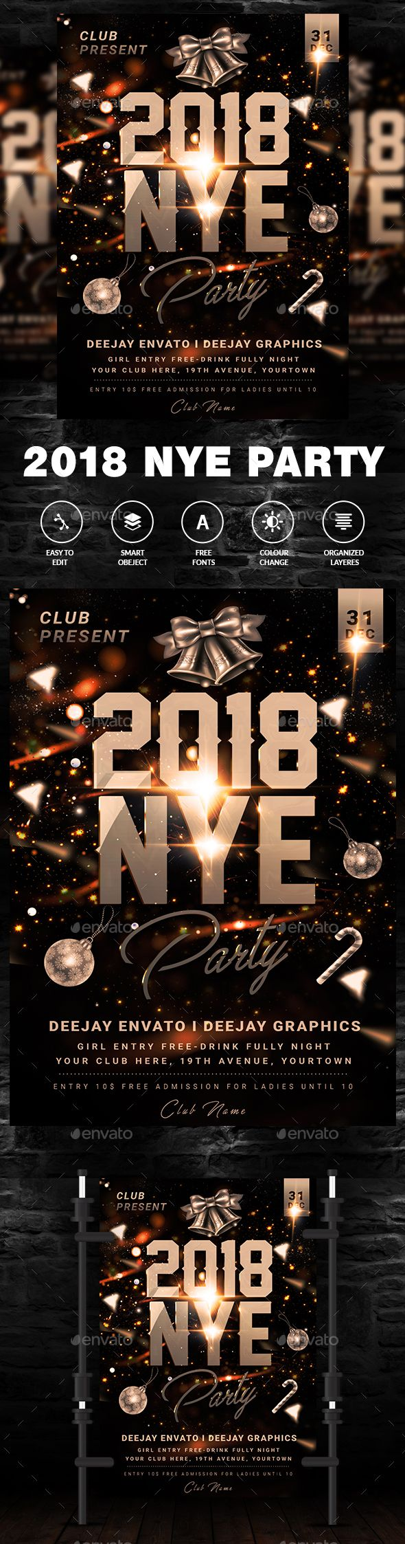 New Years Eve Party Flyer Template #x-mas #elegant  • Download here → https://graphicriver.net/item/new-years-eve-party-flyer-template/21086768?ref=pxcr