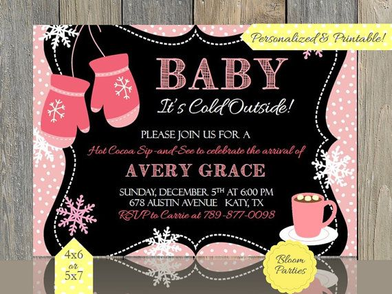 Baby Its Cold Outside Invitation Pink Mittens by BloomParties