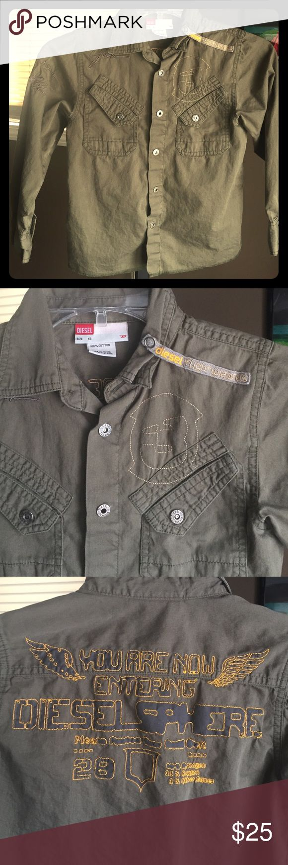 Diesel Snap up Work shirt L/S Tons of cute details. Very good condition. Can fit a slim size small. Army green. Diesel Shirts & Tops Button Down Shirts