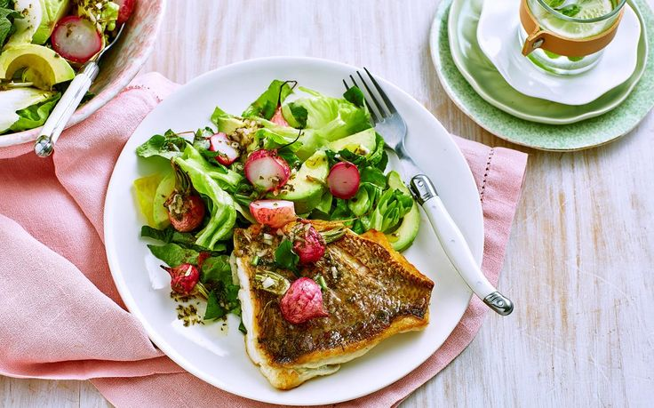 For a healthy and tasty lunch or dinner idea, try this grilled snapper fillet recipe from Woman's Day, complete with a roasted radish & avocado salad.