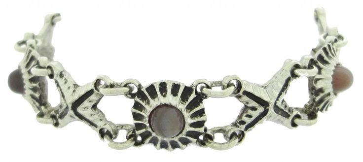 Kalervo Sainio pewter bracelet rosette with agate