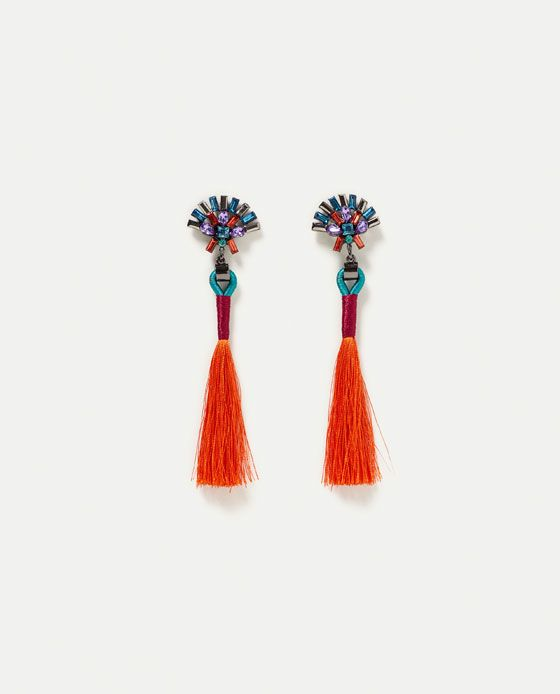 ZARA - WOMAN - MULTICOLOURED POMPOM EARRINGS