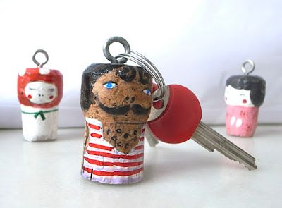 Painted cork keychain. Not only is it cute, but it can make your keys float if dropped in water!