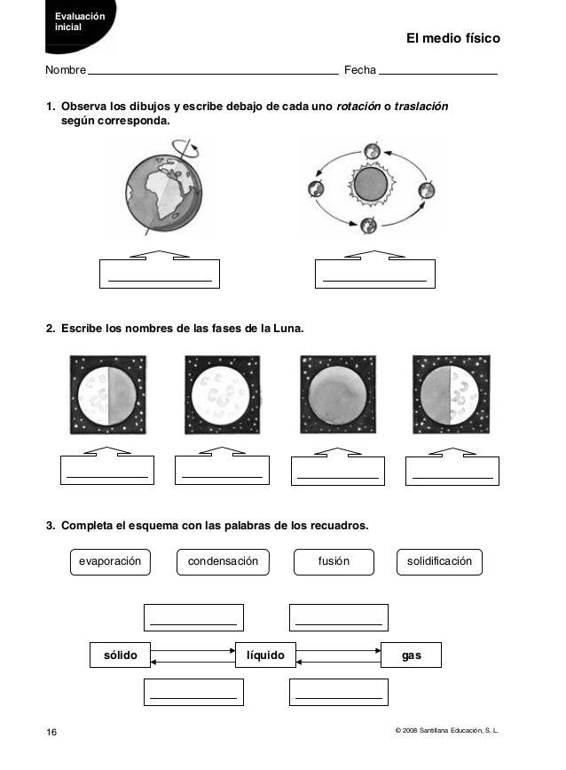Evaluaciones Conocimiento Del Medio 4º Movimientos De La Tierra Enseñanza De La Geografía Ciencias Sociales Primaria
