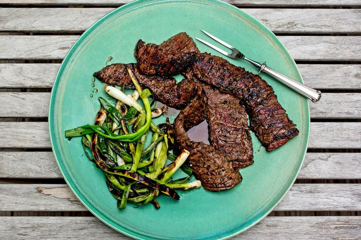 Grilled skirt steak with herbs (basil, thyme, jalapeno, scallions, lemon juice and salt)  YUM! Verdict - yes, I would make this again.