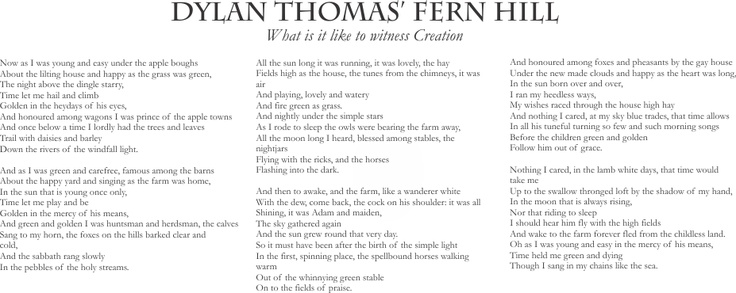 """Another poem cum MCC song. Fitting for today.   """"Time held me green and dying/though I sang in my chains like the sea"""""""