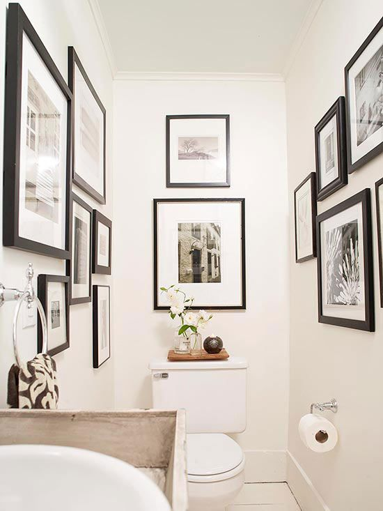Art-Filled Gallery - am I brave enough to do this in the downstairs powder room with China photos?
