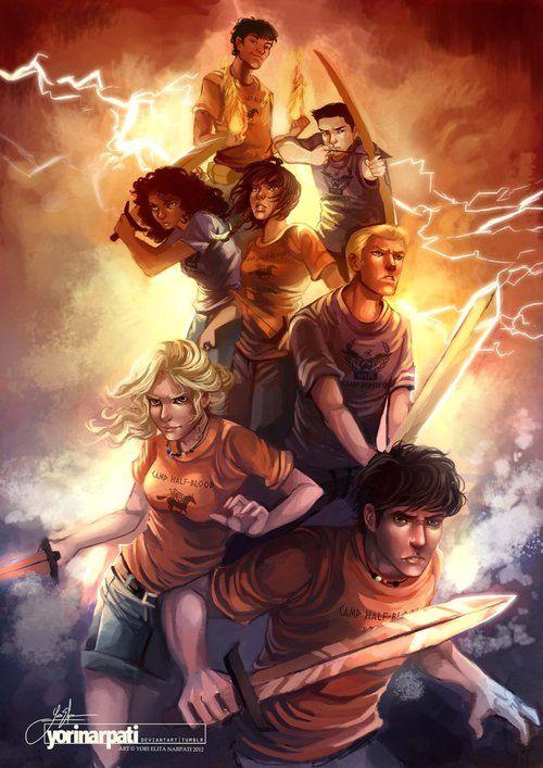 Heroes of Olympus. Leo, Frank, Hazel, Piper, Jason, Annabeth, and Percy