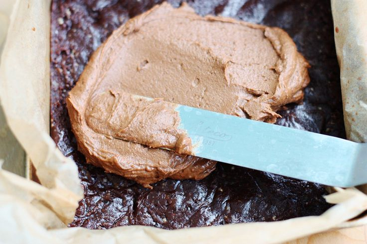 raw brownies with chocolate pumpkin frosting