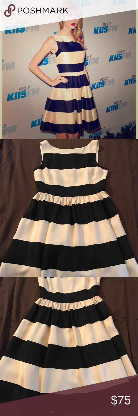 Kate Spade Party Dress Show stopping black and white striped party dress. by Kate Spade: Carolyn fit and flare. Great for all seasons - summer weddings or holiday parties. And it has pockets! Small stain on white stripe on bottom right side of skirt. Barely noticeable with flow of flare skirt. kate spade Dresses