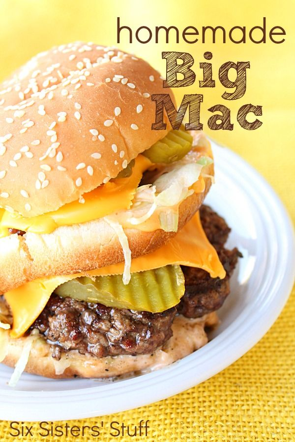 Homemade Copycat Big Mac Recipe from SixSistersStuff.com.  This recipe tastes even better than the real thing! Plus, you know exactly what goes into your burger!