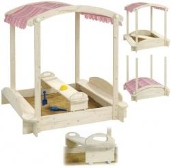 Howa Sandkasten mit Spieltisch und Dach (Natur-Pink)