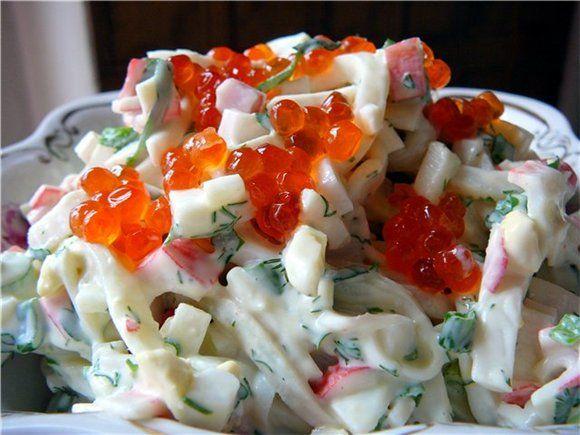 Рецепты салатов из кальмаров и криветок