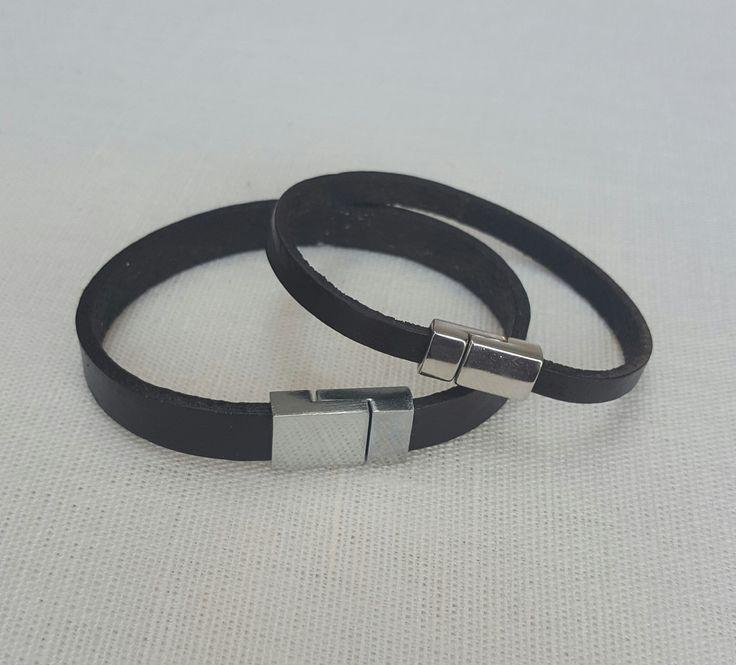 His N Hers Black leather bracelets