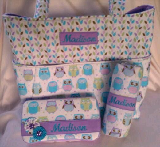 Pretty Owl Diaper Bag Set with Changing Pad and Travel Diaper Wipes Case to match. Personalized free.. $72.95, via Etsy.