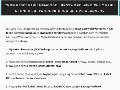 Cara membobol atau solusi mereset password Windows 8 tanpa software.