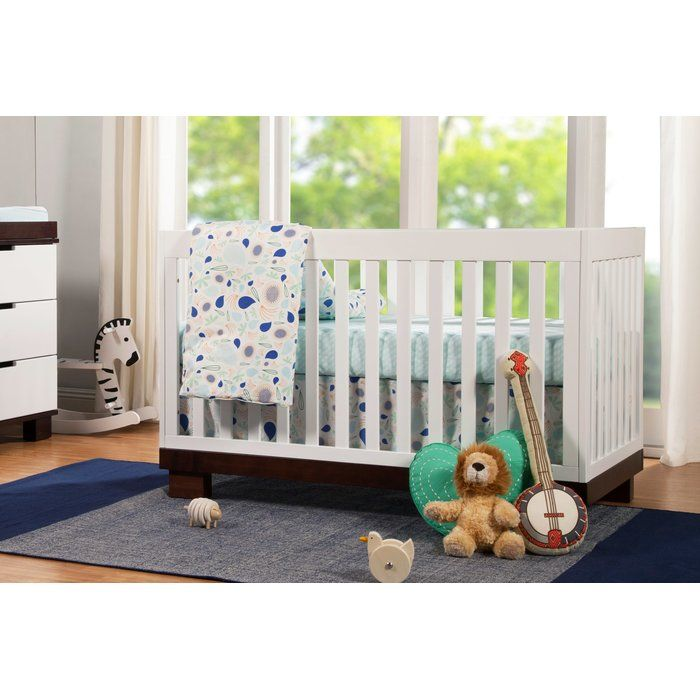 This contemporary convertible pine crib will add sophistication to any nursery with its sleek design and modern look. The Modo 3-in-1 Convertible Crib offers a versatile design with four mattress levels for the mattress support and includes a toddler guard rail kit. These features will allow the Modo 3-in-1 Convertible Crib from Babymiro to adjust to your baby's growth and last through his or her toddler years by converting from a crib into a toddler bed and later into a day bed.