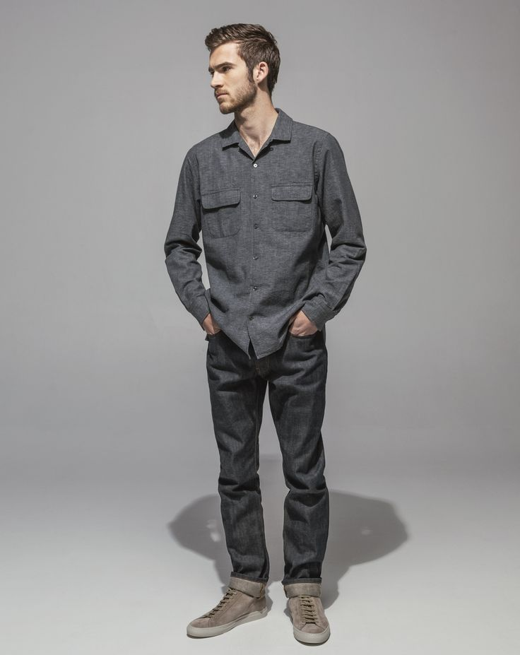 Japanese Yarn Dyed Chambray Revere Collar Shirt (Grey) Premium Japanese 14.5oz Selvedge Straight Leg (24 Dip Dark Indigo)