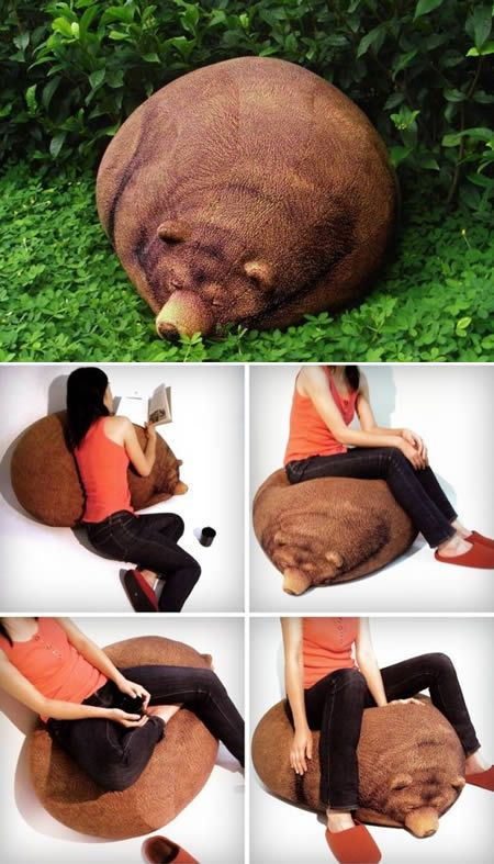 The grizzly bear bean bag looks like a hibernating grizzly bear and the great thing is that the bear won't wake up if you sit or lay on him. The bear continues to sleep FOREVER.