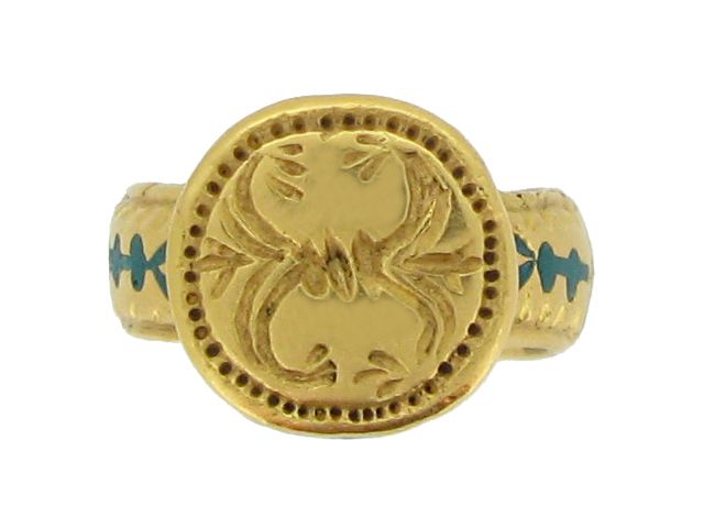 Ancient Byzantine gold and enamel ring, circa 8th - 10th century AD